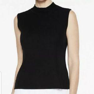 Ming Wang Mock Neck Sleeveless Blouse Top Black